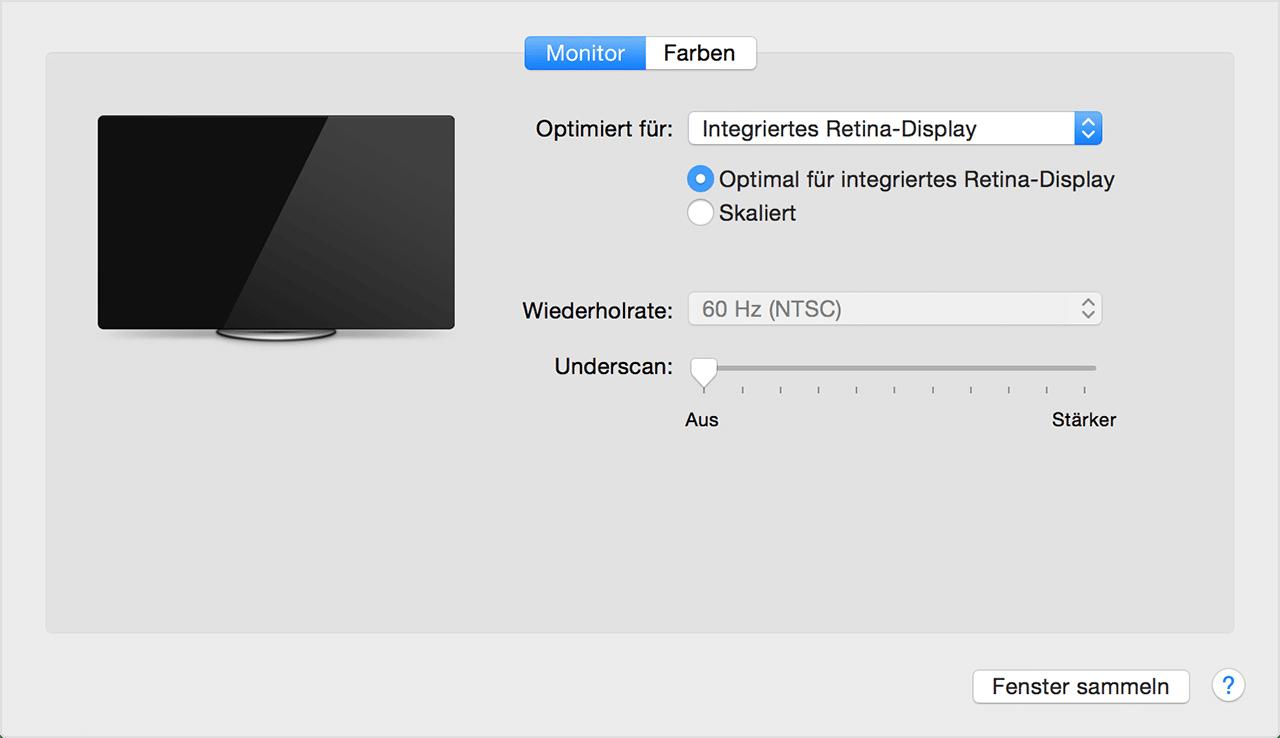 Laptop mit TV verbinden - Mac OS Monitor